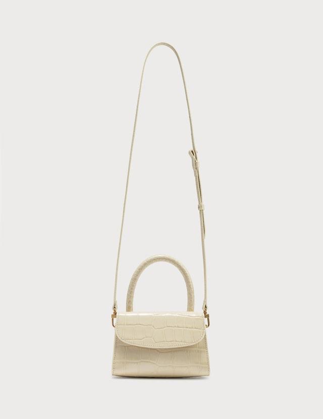 BY FAR Mini Cream Croco Embossed Leather Bag