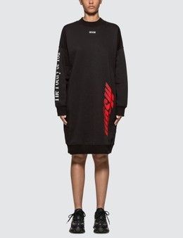 MSGM Multi Logo Print Fleece Dress