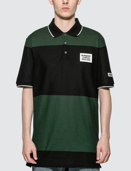 Burberry Logo Appliqué Striped Cotton Polo Shirt