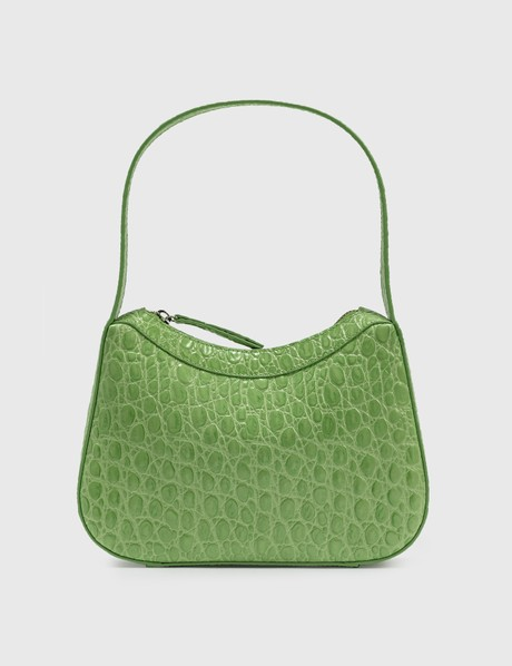 By Far Kiki Pistachio Circular Croco Embossed Leather Shoulder Bag