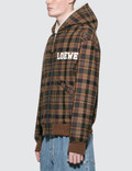 Loewe Zip Shearling Hooded Check Jacket
