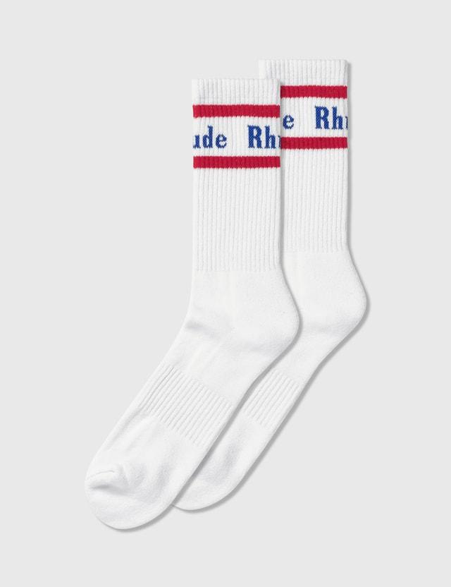 Rhude Vintage Logo Socks White/red Men