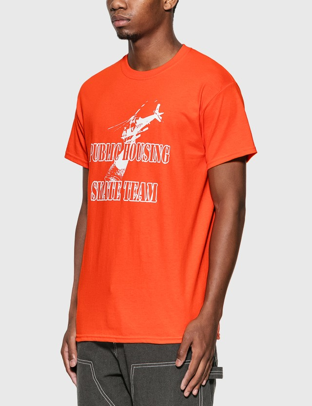 Public Housing Skate Team Helicopter T-Shirt Orange Men