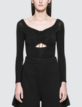 Alexander Wang.T Stretch Jersey Sleeved Bodysuit With Cut Out And Ties Picture
