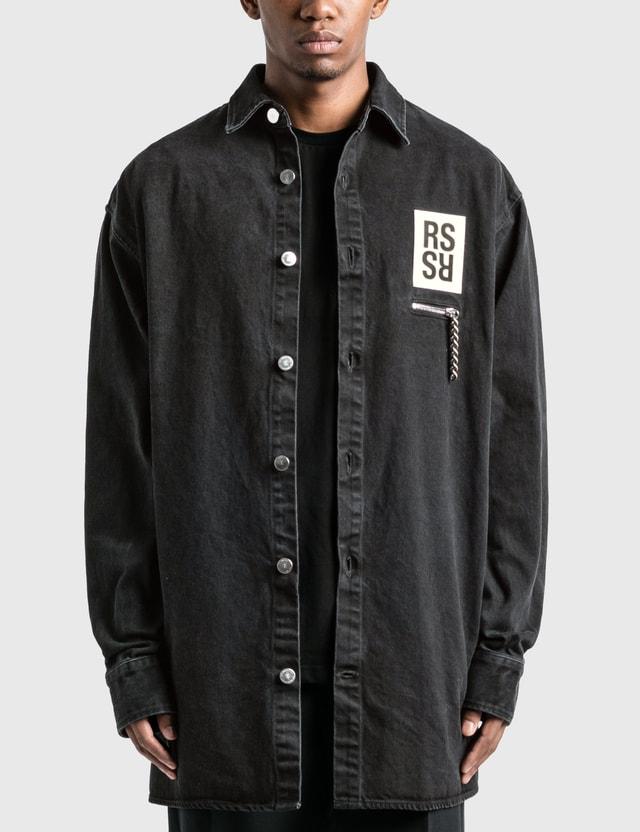 Raf Simons Zipped Pocket Big Fit Denim Shirt Black Men