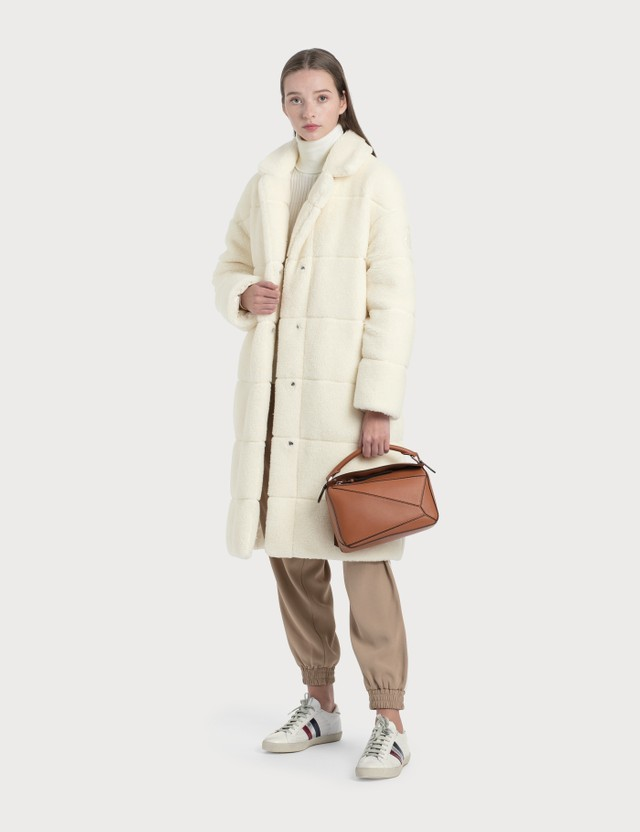 Moncler Reversible Shearling Coat White Women
