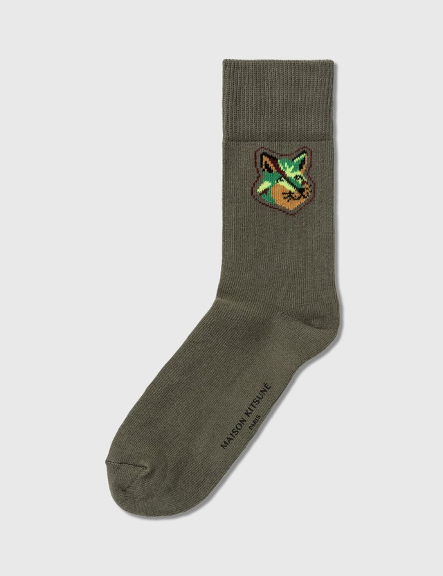 Maison Kitsune Neon Fox Head Socks