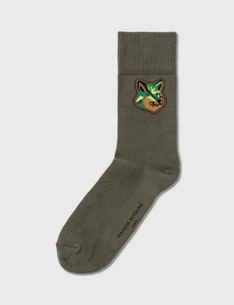 메종 키츠네 양말 Maison Kitsune Neon Fox Head Socks