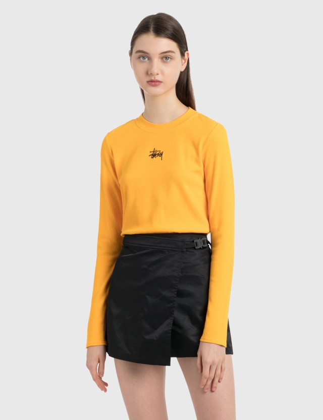 Stussy Baby Rib Long Sleeve T-Shirt Orange Women