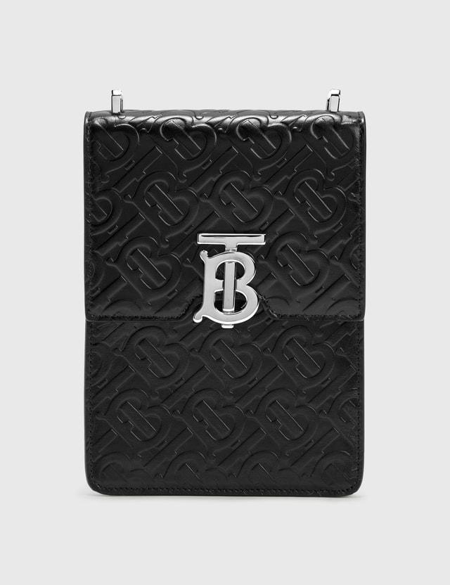 Burberry Monogram Leather Robin Bag Black Men
