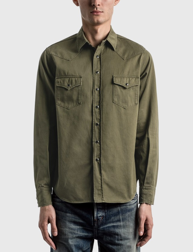 Saint Laurent Distressed Classic Western Shirt Khaki/stone Wash Men