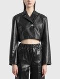 Ganni Cropped Leather Jacket Black Women