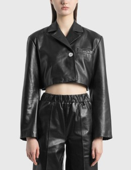 Ganni Cropped Leather Jacket