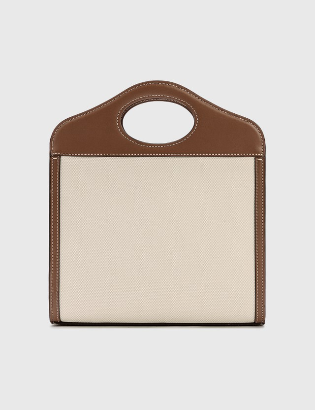 Burberry Mini Logo Graphic Canvas and Leather Pocket Bag Tan Women