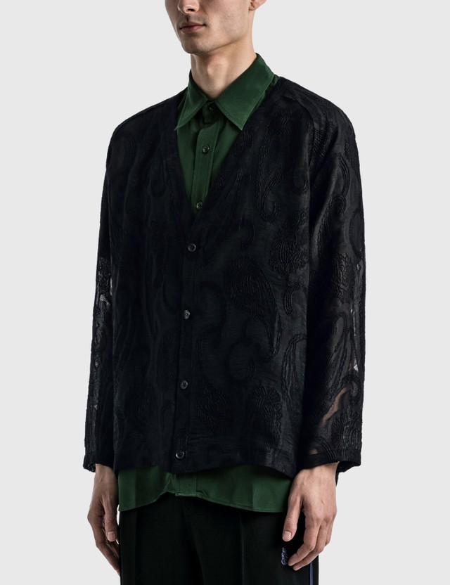 Needles V Neck Cardigan Black Men