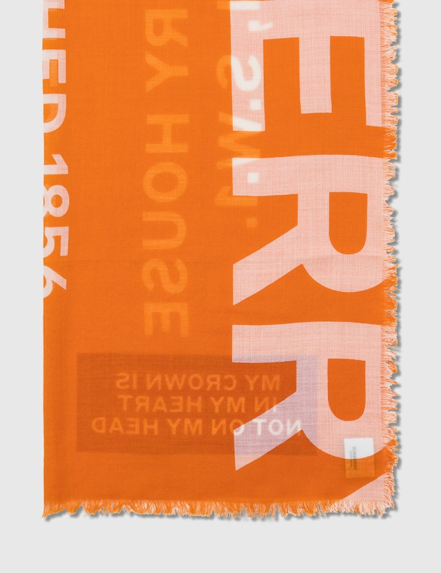 Burberry Text Gauze Scarf Bright Orange Women