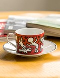 "Ligne Blanche Keith Haring ""White on Red"" Porcelain Tea Cup Set Red Unisex"