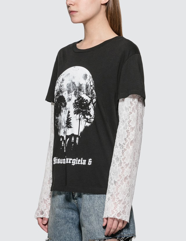 MM6 Maison Margiela Lace Sleeve Skull Print T-shirt