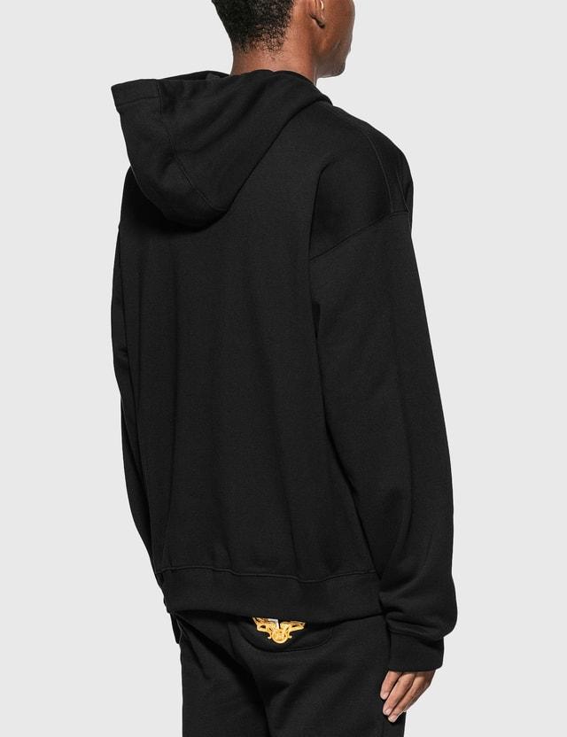 Versace Logo Plaque Hoodie Nero Men