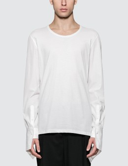 Alexander McQueen Hybrid L/S T-Shirt with Poplin Sleeves