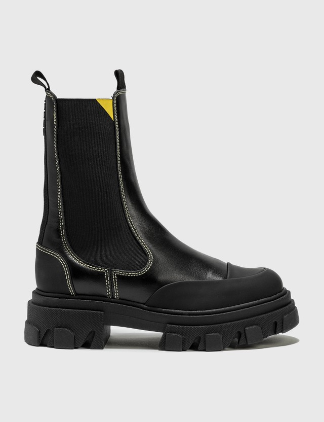 Ganni Calf Leather Mid Chelsea Boots