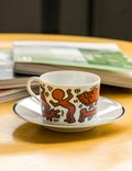 "Ligne Blanche Keith Haring ""Red On White"" Porcelain Tea Cup Set White Unisex"