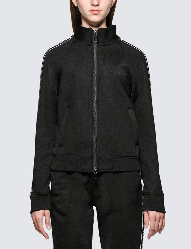 Alexander Wang.T Sleek French Terry Full-Zip Shrunken Track Jacket Black Women