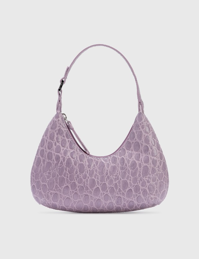 BY FAR Baby Amber Lilac Circular Croco Embossed Leather Lilac Women