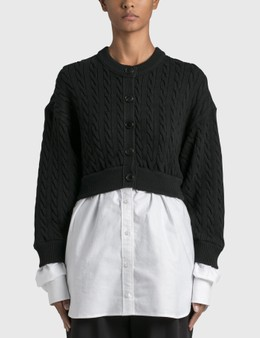 Alexander Wang.T Bi-layer Cable Cardigan with Oxford Shirting