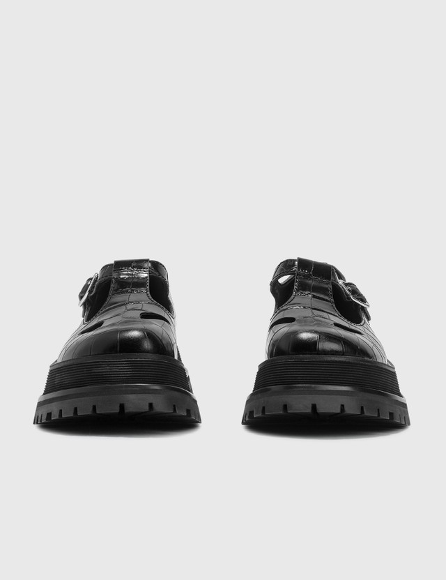 Burberry Embossed Leather T-bar Shoes Black Women
