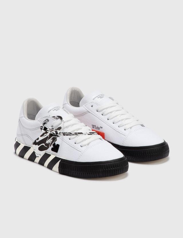 Off-White Low Vulcanized Canvas Sneaker White Black Women