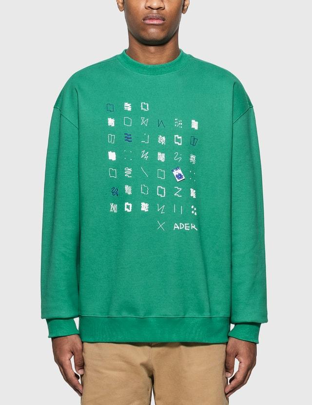 Ader Error Artwork Graphic Sweatshirt Green Men