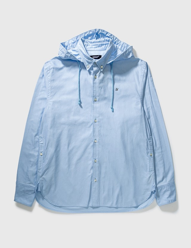 Undercover Undercover Hooded Shirt Light Blue Archives