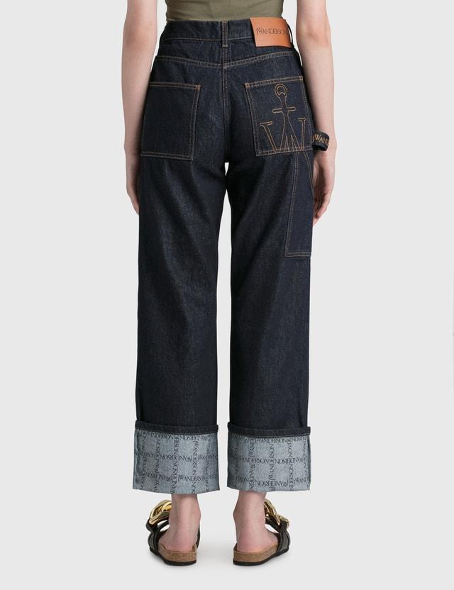 JW Anderson Logo Grid Turn Up Workwear Jeans Indigo Women