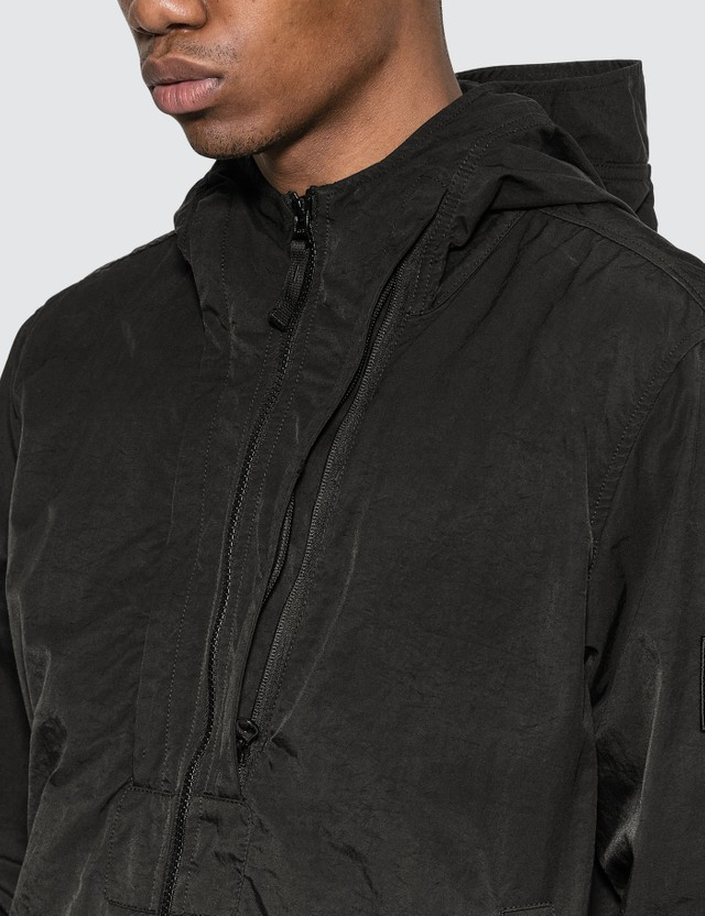 Stone Island Tightly Woven Nylon Twill Hooded Jacket Black Men