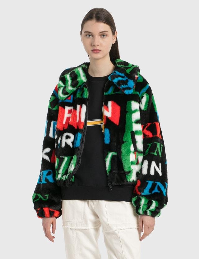 Kirin Typo Fur Jacquard Zip Up Jacket Black Green Women