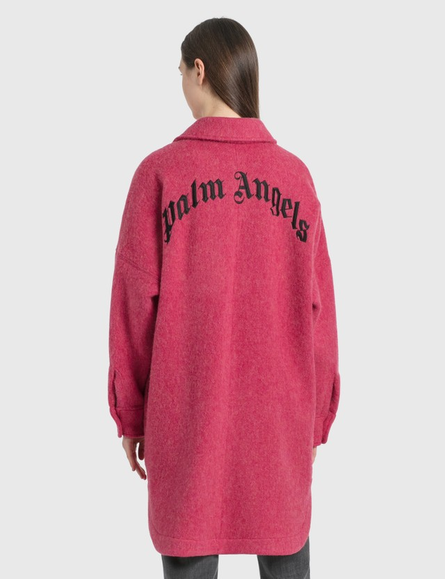 Palm Angels Logo Overshirt Burgundy  Black Women