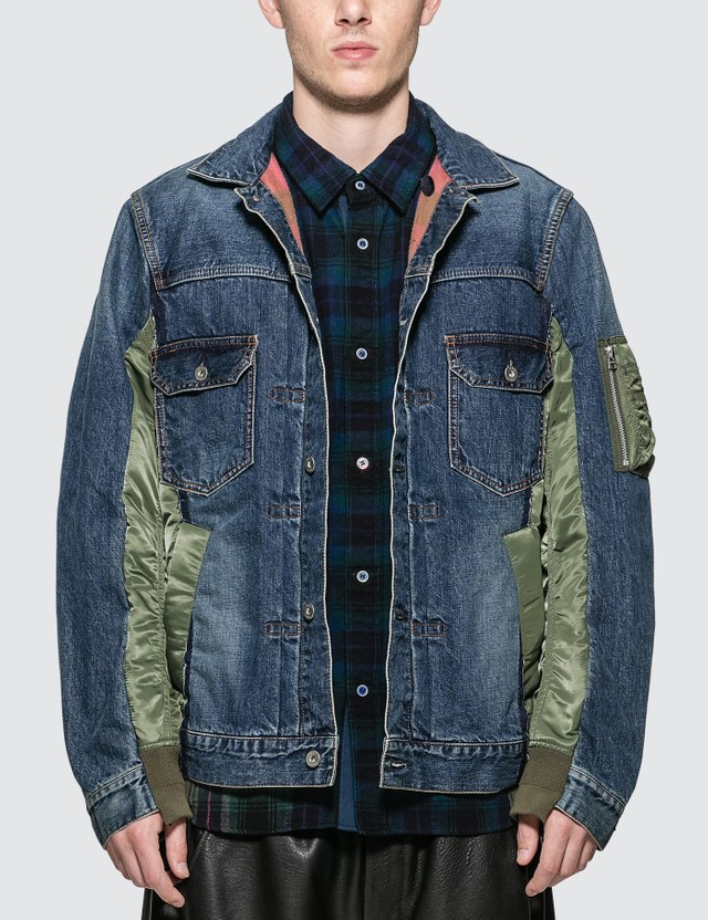 Sacai MA-1 Denim Patchwork Jacket