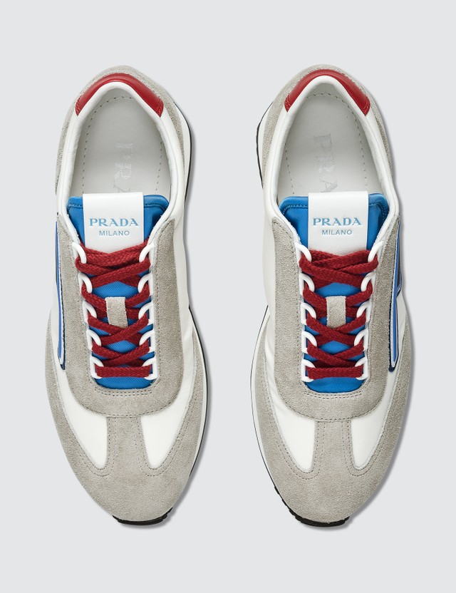 Prada Suede And Nylon Retro Sneakers