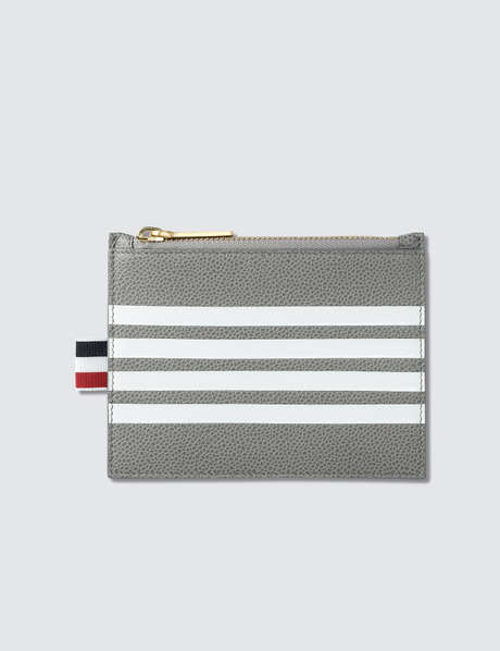 Thom Browne 톰 브라운 Pebble Grain and Calf Leather Small Coin Purse (14.5 cm) with Contrast 4 Bar Stripe