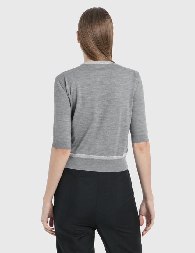Loewe Flower Lurex Cropped Sweater Grey/silver Women