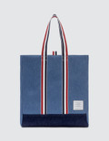 Thom Browne Unstructured Tote In Washed Denim Picture