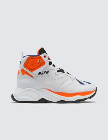 MSGM 하이탑 청키 스니커즈 - 화이트 블루 오렌지 High Top Chunky Sneakers