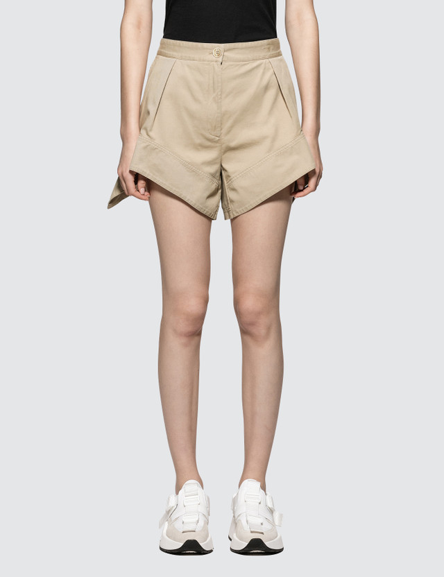 JW Anderson Chino Curved Hem Shorts Flax Women