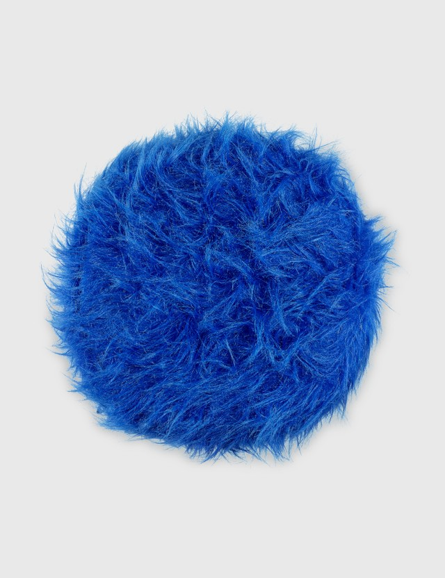Crosby Studios Blue Furry Ottoman Blue Unisex