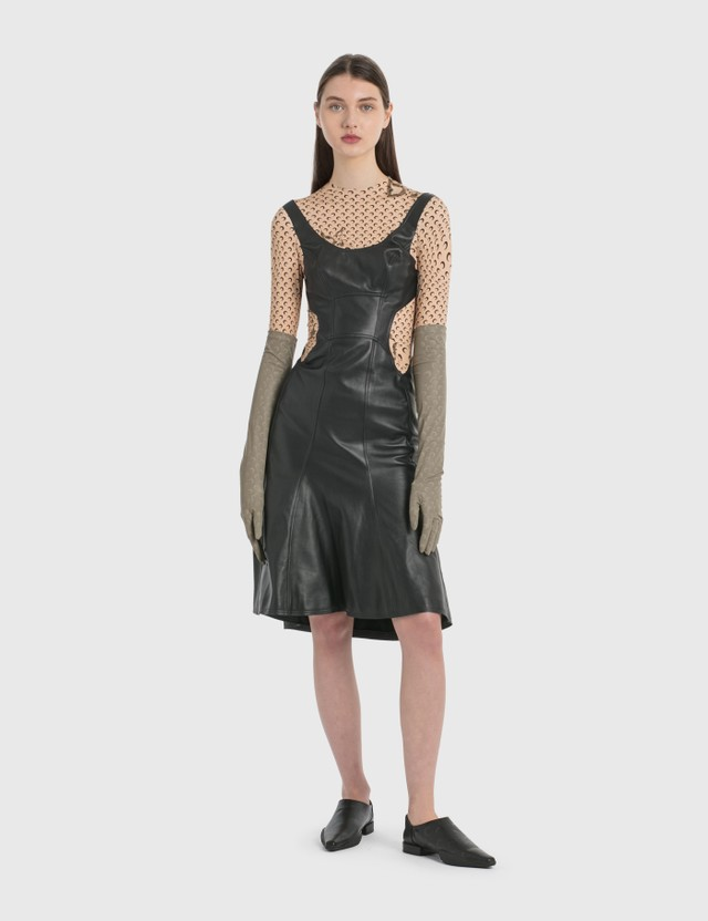 Marine Serre Regenerated Leather Hybrid Stretch Dress 0 Black Women