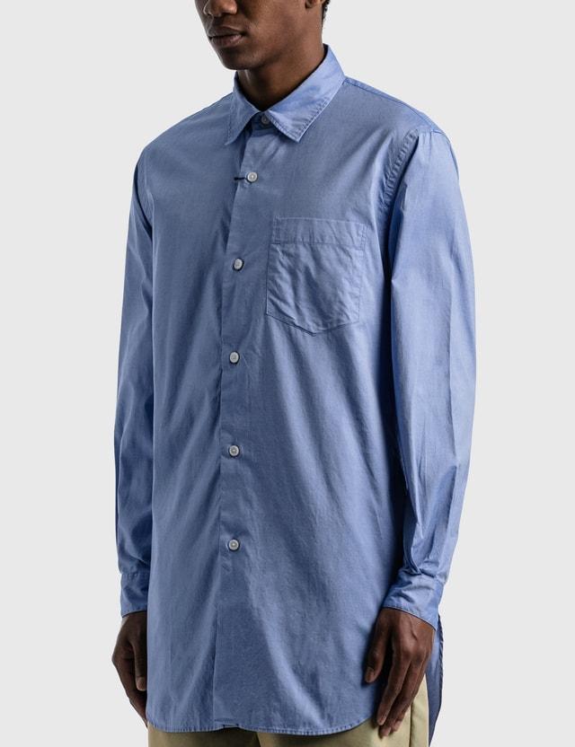 SOPHNET. Regular Collar Long Shirt Blue Men