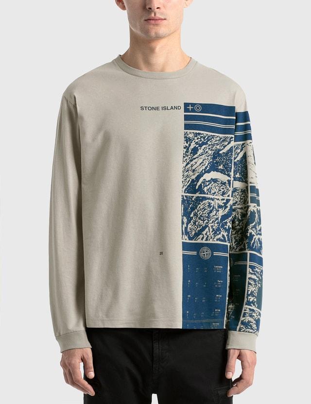 Stone Island Mural Graphic Long Sleeve T-Shirt Grey Men