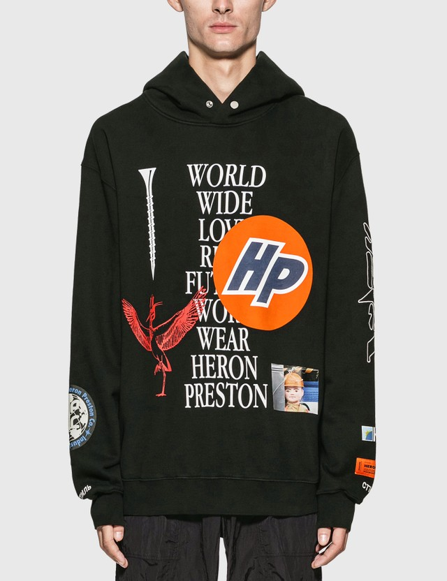 Heron Preston Collage Hoodie Black White Men