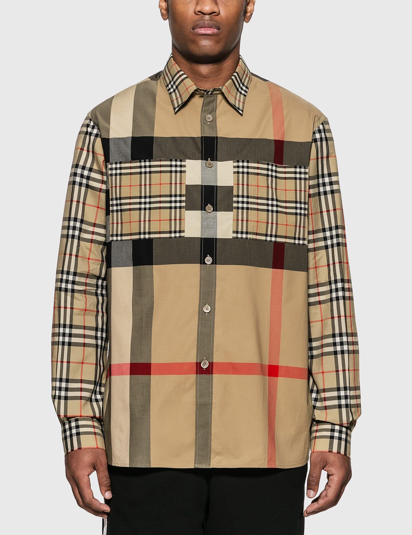 Patchwork Check Stretch Cotton Oversized Shirt